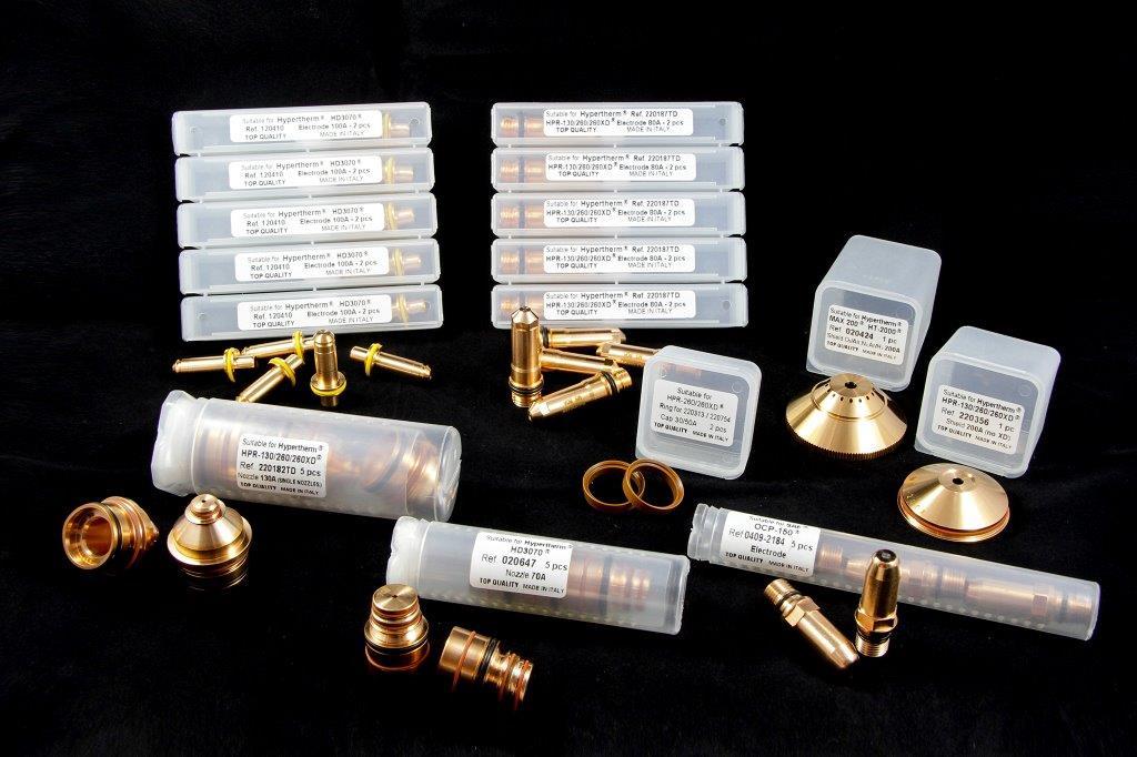 Elettrodo Hypertherm HD3070 – Hypertherm XPR 130 – HPR130XD Ugello 220182 Elettrodo SAF OCP150 Shield 200 A HPR260